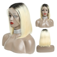 13x6 Bob Wig 1B 613 Ombre Honey Blonde Straight Lace Front Human Hair Wig Pre Plucked Short Half Wig for Black Women