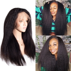 Kinky Straight Full Lace Wig 180% Density Pre-Plucked Hairline With Baby Hair