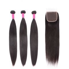 Brazilian Straight Hair Bundles With Closure 10a Mink Brazilian Virgin Hair Straight 3 Bundles With Closure