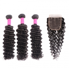 Virgin Brazilian Deep Wave Bundles With Closure 10a Mink 100% Human Hair Deep Wave 3 Bundles With Closure Sale