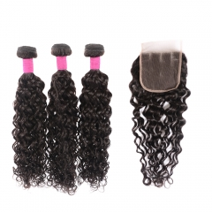 Cheap Water Wave Bundles With Closure 10a Mink 100% Human Hair Wet and Wavy 3 Bundles With Closure Sale