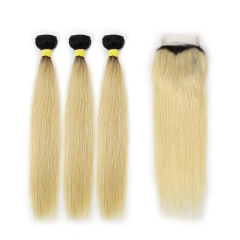 Virgin Hair 1B/#613 Blonde Straight Hair Weave 3 Bundles with Closure 100% Human Hair