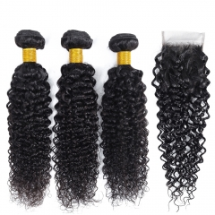 Brazilian Curly Bundles With Closure 100% Remy Human Hair Weave Kinky Curly Hair Bundles With Closure