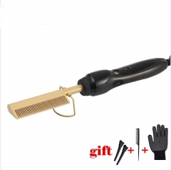 Gold Hair Comb Fast Smoothing Electric Hair Straightener Brush Ceramic Heating Temperature