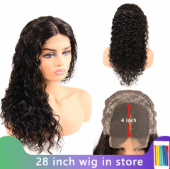 4x4 Lace Closure Wig Brazilian Deep Wave Closure Wig Remy Human Hair Wigs Preplucked Natural Hairline Black Color