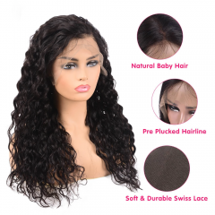 Brazilian Water Wave Human Hair Wigs 4x4 Lace Closure Wig With Baby Hair Pre Plucked Natural Hairline For Black