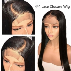 Straight 4X4 Lace Closure Wig Human Hair Wigs For Black Women Pre Plucked Peruvian Remy Hair Wigs With Baby Hair 200% Density