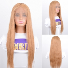 Brazilian Straight 360 Lace Front Wig PrePlucked Baby Hair  Color #27 Lace Front Human Hair Wigs