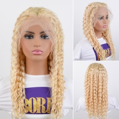 613 Blonde Lace Front Wig Deep Curly Human Hair Wigs With Baby Hair