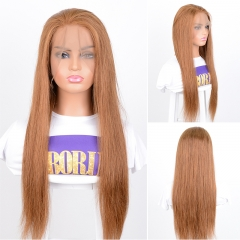 Glueless Brazilian 360 Lace Wig Human Hair Brown Color #30 Wigs Natural Hairline 180% Density