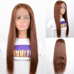 Ombre Color #4 Lace Front Human Hair Wigs With Baby Hair 360 Straight Brazilian Lace Wig Bleached Knots