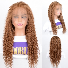 Brazilian Human Hair Wigs 360 Lace Wigs #30 Brown Color Pre-Plucked Wigs Ombre Deep Curly Wigs