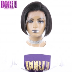BoRui Short Pixie Lace Front Human Hair Wigs Brazilian Hair Straight Remy Hair