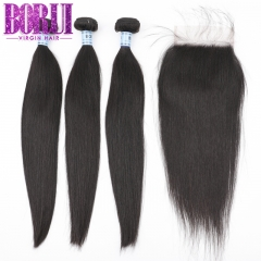 Borui Hair 3 Silk Straight Hair Bundles With 4x4 Lace Closure 10A  Human Hair Bundles 8-28 Inch Soft human Hair Total 4 Pieces