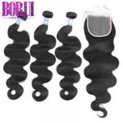 Borui 3 Body Wave Bundles With Closure Brazilian Hair Weave Bundles With 4x4 Lace Closure Remy Human Hair Bundles With Closure