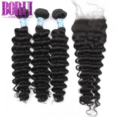 3 Bundles Deep Wave Hair With Lace Closure Borui Brazilian Hair