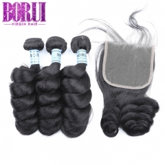 Borui 4x4 Lace Closure With 3 Bundles Brazilian loose Wave Remy Human Hair  Natural Color Hair Extension