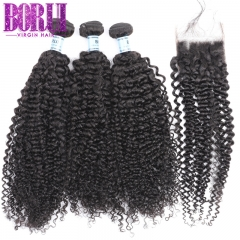 Kinky Curly Bundles With Closure Brazilian Remy Curly 100% Human Hair  3 Bundles Weave And Lace Closure