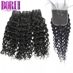 Borui Water Wave 3 Bundles With Closure Borui Remy Brazilian Full Soft Hair Weaves Bundles