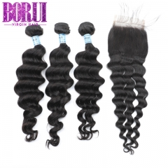 Borui Loose Deep 3 Bundles With Closure Brazilian Hair Weave Bundles With Closure Remy Soft Full Hair