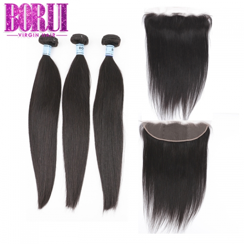 Borui Brazilian Hair Weave Bundles With Frontal Straight Hair Bundles With Frontal Human Hair Bundles With Frontal 100% Remy Soft Hair