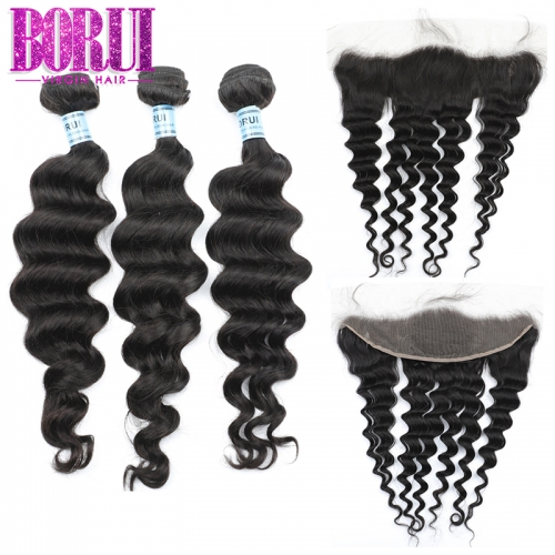 Borui Hair Brazilian Hair Weave Bundles With Frontal 13*4 Ear To Ear Loose Wave Bundles With Frontal 100% Remy