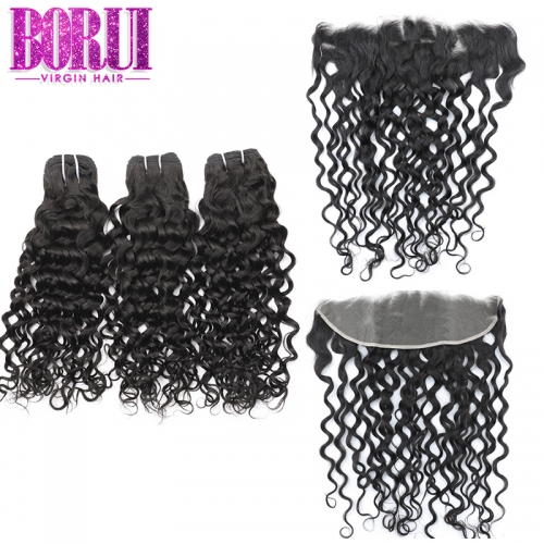 Borui Virgin Hair 3 Bundles With 13*4 Lace Frontal Water Wave 100% Human Remy hair