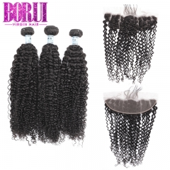 Borui Kinky Curly 3 Bundles with 13x4 Frontal Brazilian Lace Frontal Remy Human Hair Bundles With Frontal