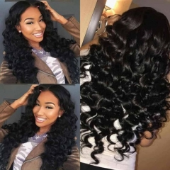 Pre Plucked 13x4 Lace Loose Deep Wave 180% densityHuman Hair Wig Virgin Human Loose Wave Full Lace Wig